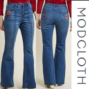 Modcloth Embroidered Flowers Flare Jeans